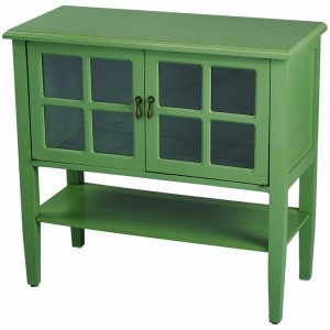 "32"" X 14"" X 30"" Green MDF, Wood, Clear Glass Console Cabinet with a Shelf Doors and Paned Inserts"