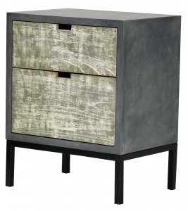 """22"""" X 14"""" X 27"""" Gray W/ Distressed Gray MDF, Wood, Iron Accent Cabinet with Drawers"""