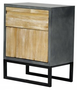 """22"""" X 14"""" X 27"""" Gray W/ Distressed Wood MDF, Wood, Iron Cabinet with a Drawer and a Door"""