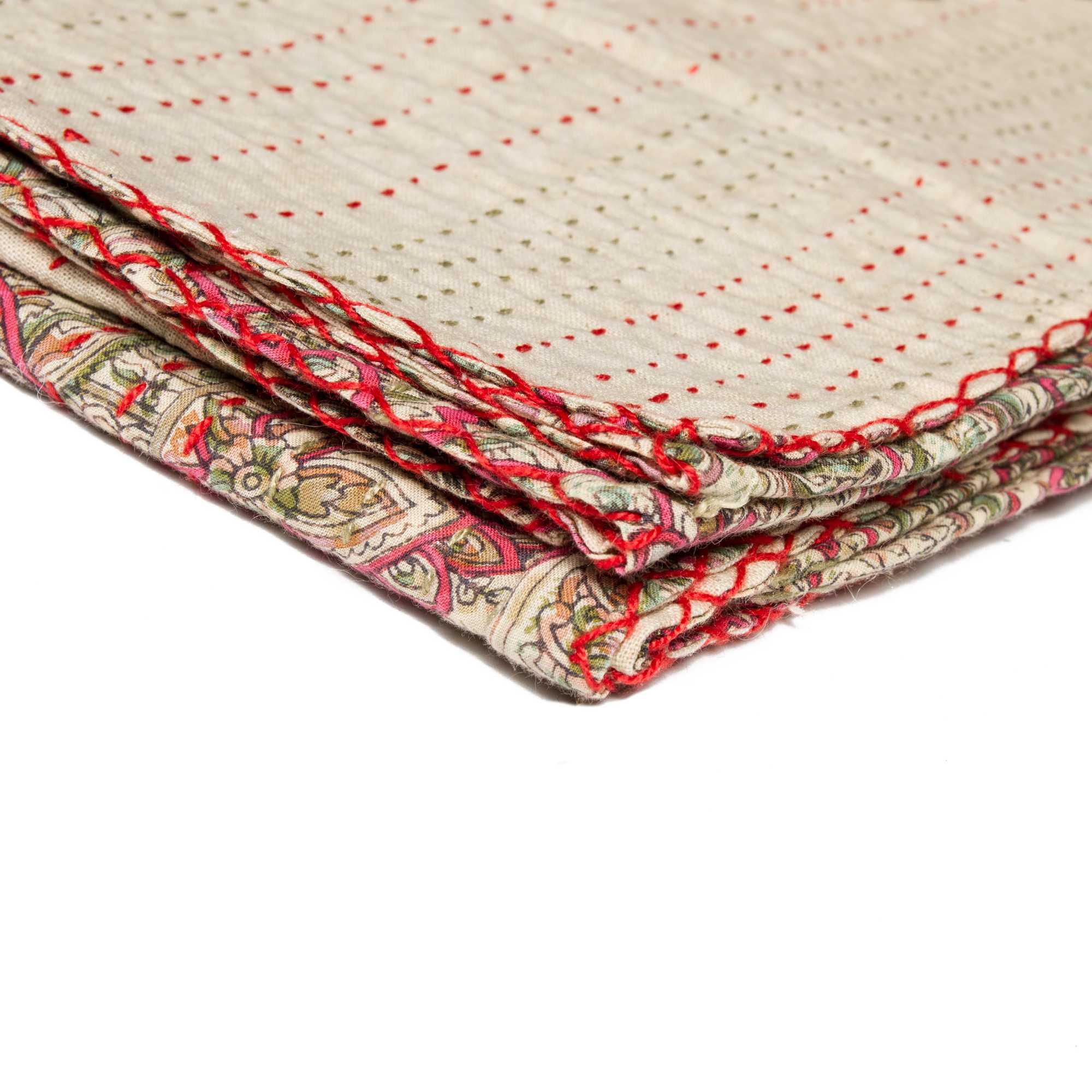 """50"""" x 70"""" Beige, Kantha - Throw Blanket"""