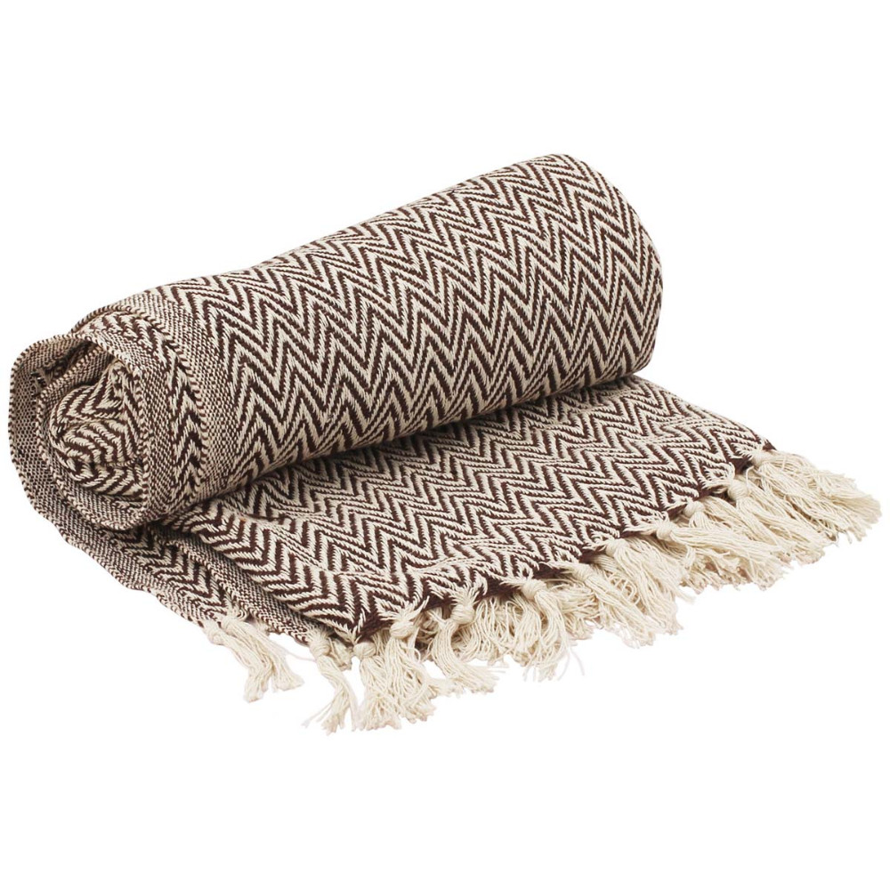 Hand Woven Reversible Chevron Throw In Cotton With Tassels