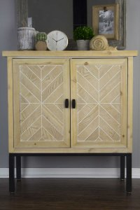 "31'.5"" X 15"" X 33'.8"" White Washed Parquet Iron, Wood, MDF  Sideboard with an Iron Frame and  Wood Doors"