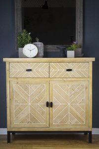 "35'.8"" X 15"" X 33'.8"" White Washed Parquet Iron, Wood, MDF Sideboard with  Wood Drawers and  Wood Doors"