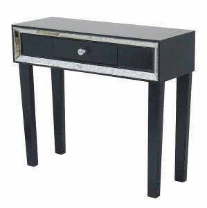 "35.5"" X 13"" X 31"" Black Give your home decor an e Console Table with a Drawer and Framed with Mirror Accents"