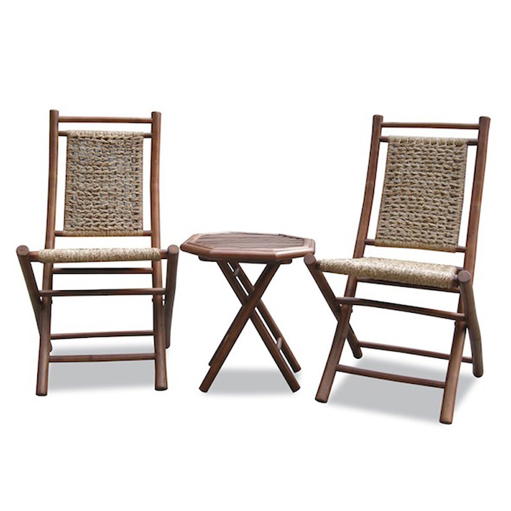 """36"""" Brown Bamboo Sea Grass Weave 2 Chairs and a Table Bistro Set"""