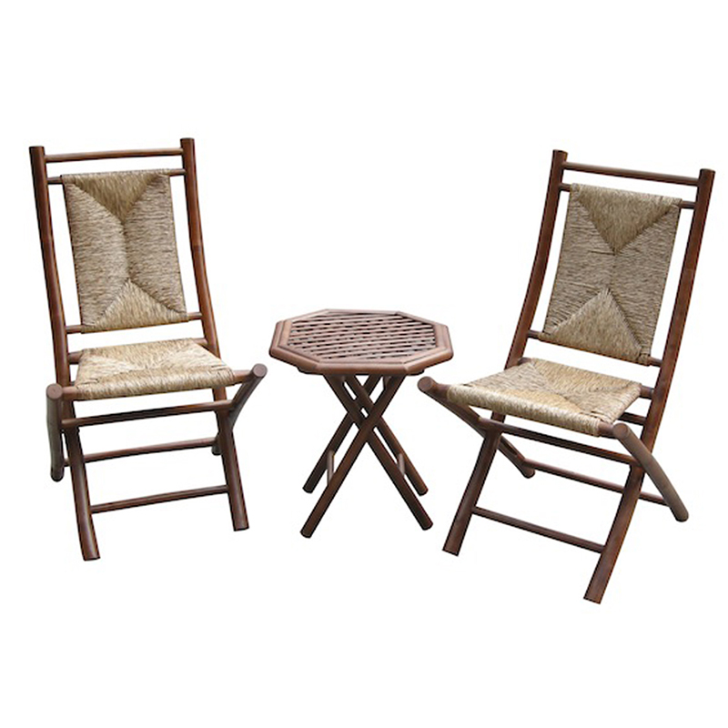 Bamboo Brown/Natural Paint Finish Beautiful Chair Table Set With 3-Piece Outdoor Conversation
