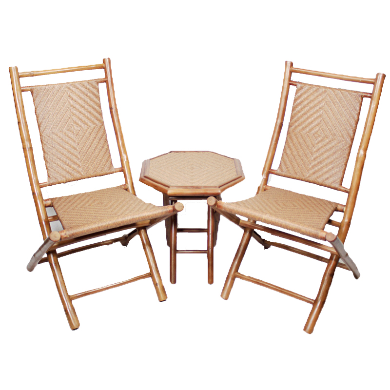 """36"""" Natural Bamboo Diamond Weave 2 Chairs and a Table Bistro Set"""