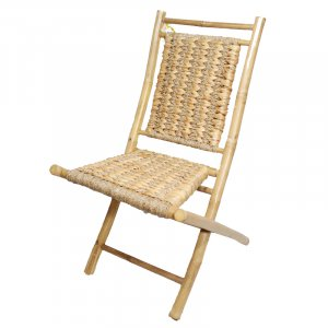 "20"" X 15"" X 36"" Natural Bamboo Folding Chairs with an Open Link Hyacinth Weave"