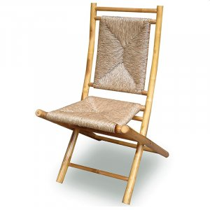 "20"" X 15"" X 36"" Natural Bamboo Folding Chairs with a Triangle Weave"