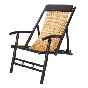 "27.5"" Natural and Black Bamboo Folding Sling Chair"