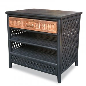 "23.5"" X 19"" X 23"" BlackBrown Bamboo End Table with a Drawer and Shelves"
