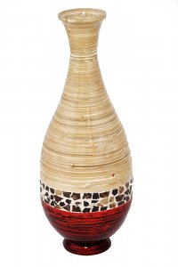 "27"" Spun Bamboo Floor Vase - Bamboo In Distressed White And Red W/ Coconut Shell"