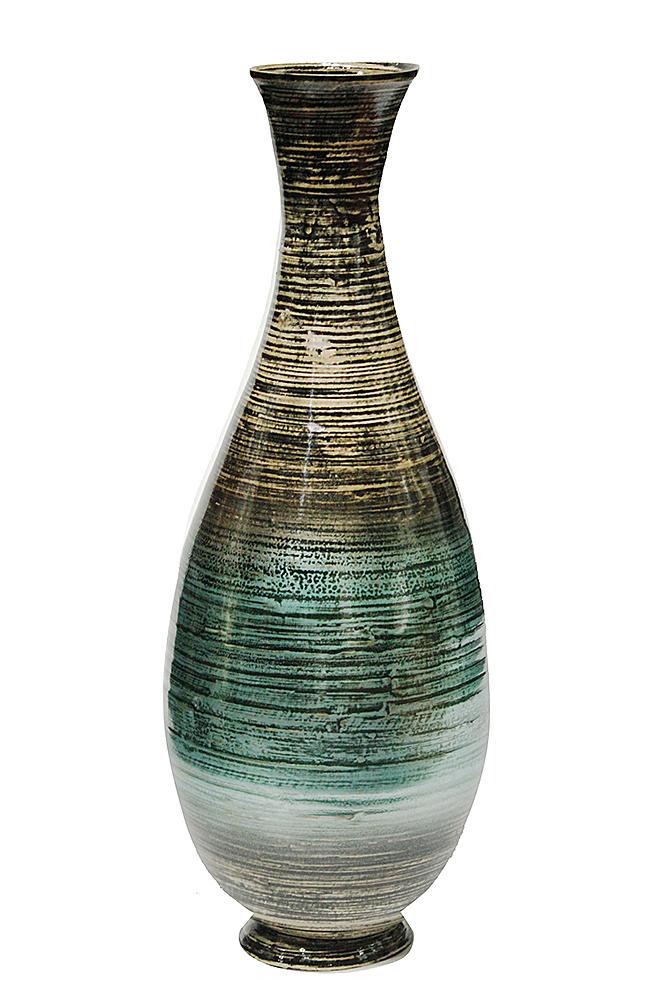"27"" Spun Bamboo Floor Vase - Bamboo In Distressed Aqua"