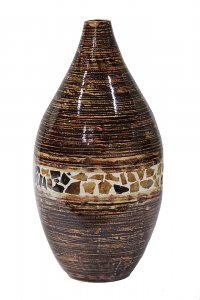 "10"" X 10"" X 20"" Distressed Brown W/ Brown Coconut Shell Bamboo Spun Bamboo Vase"