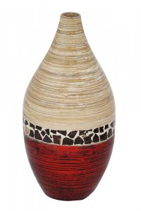 """10"""" X 10"""" X 20"""" Natural Bamboo And Metallic Red W/ Coconut Shell Bamboo Spun Bamboo Vase"""
