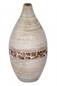"10"" X 10"" X 20"" Distressed White W/ Coconut Shell Bamboo Spun Bamboo Vase"