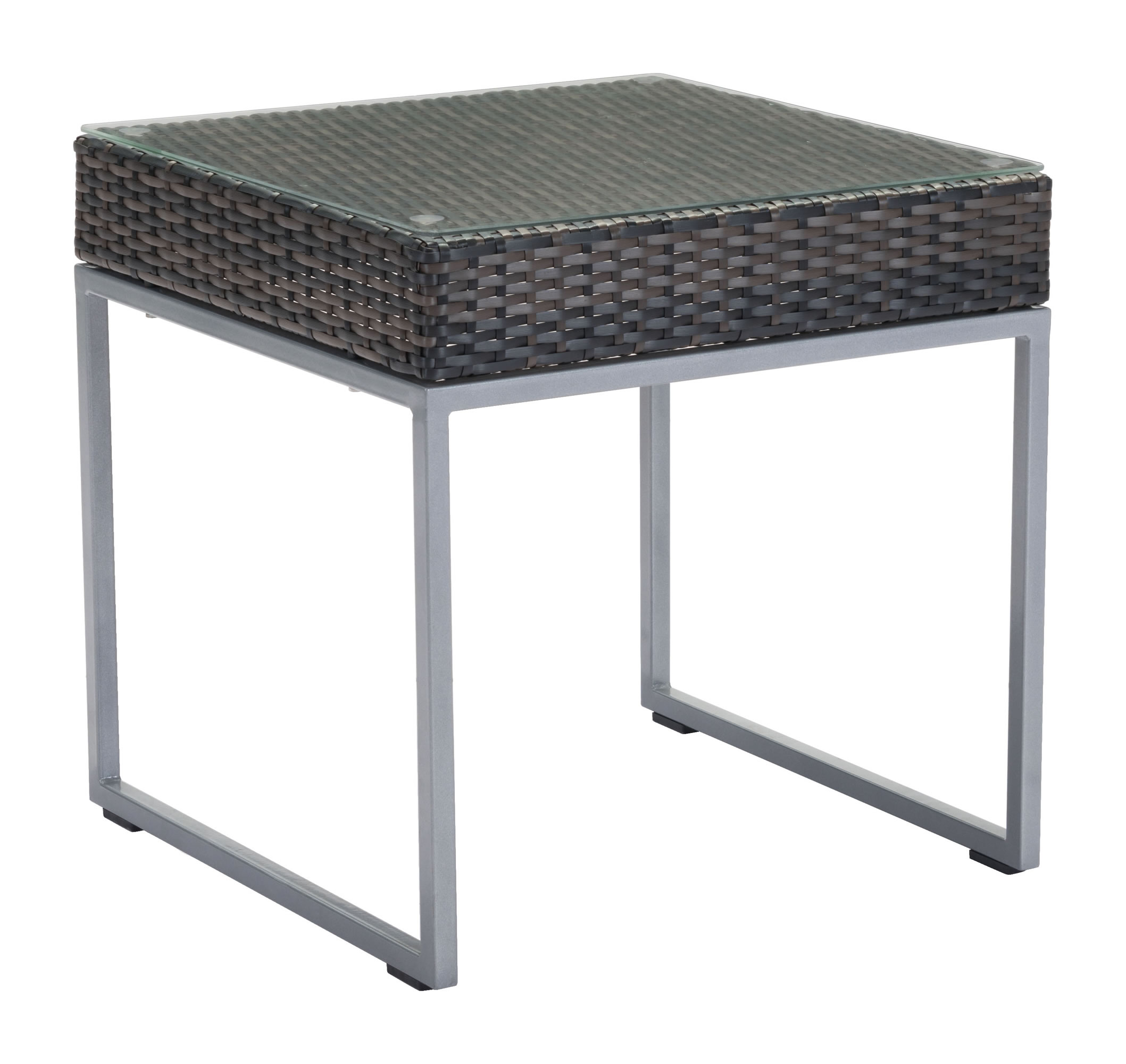 """22"""" x 22"""" x 22"""" Brown & Silver, Tempered Glass, Aluminum Frame, Synthetic Weave, Side Table"""