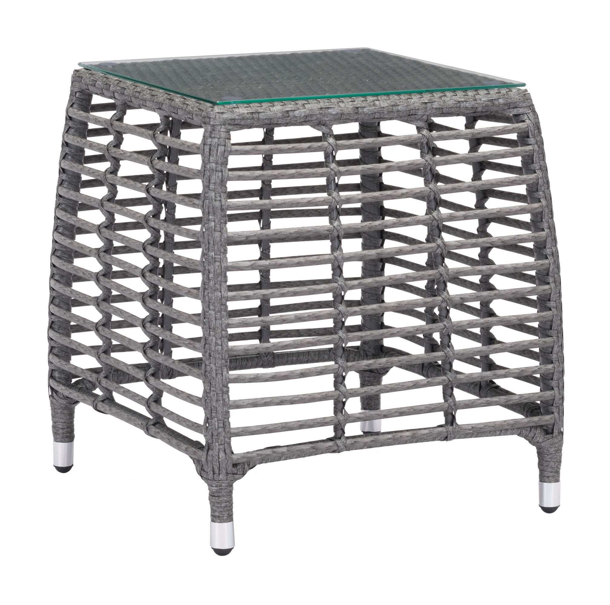 """20"""" x 20"""" x 22"""" Gray & Beige, Tempered Glass, Aluminum Frame, Synthetic Weave, Beach Side Table"""