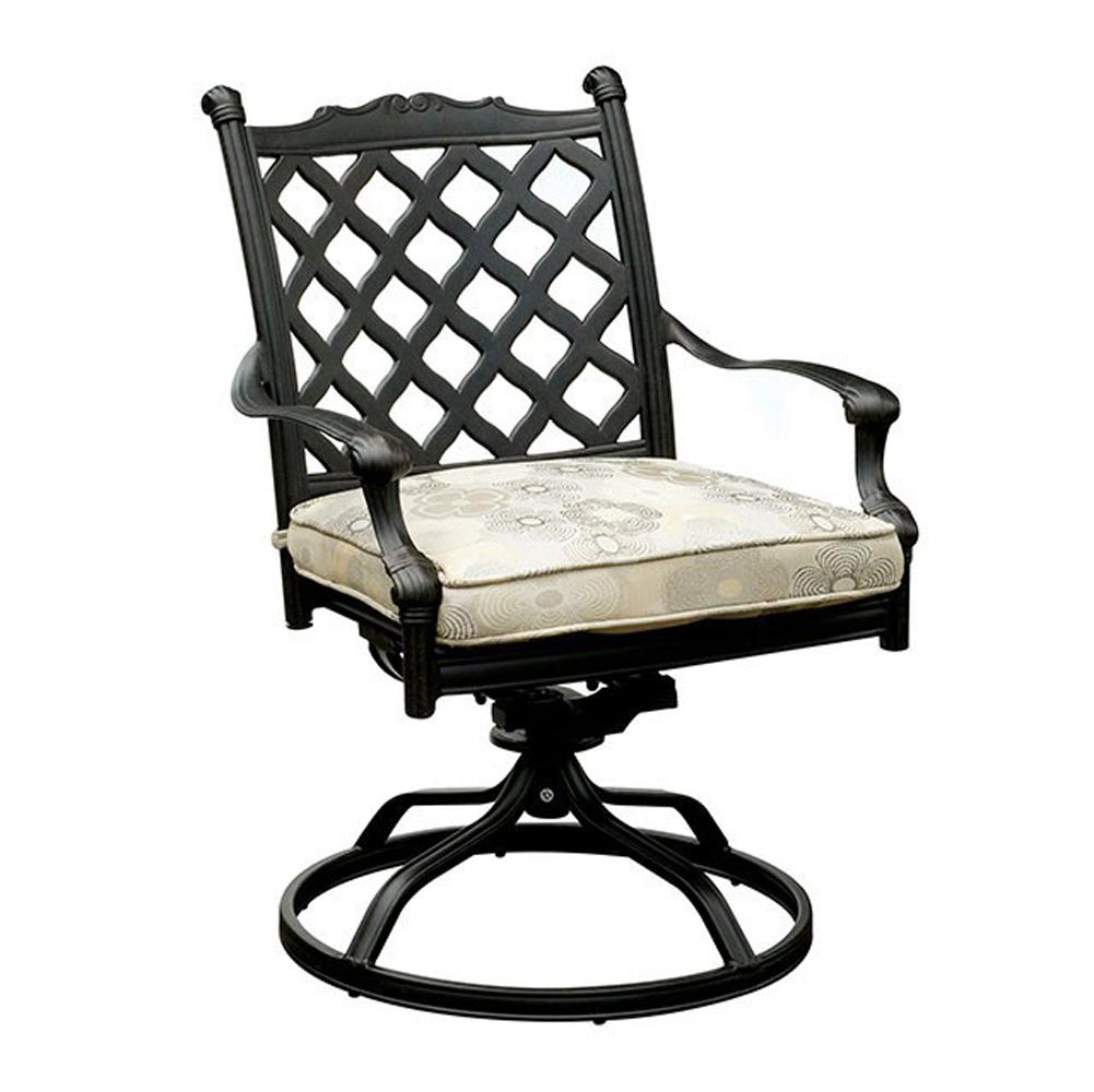 Contemporary Metal Swivel Rocker Chair, Set Of 2