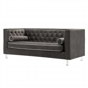 Brown Contemporary Polyester Velvet Fabric Upholstered Button Tufted Tuxedo Sofa