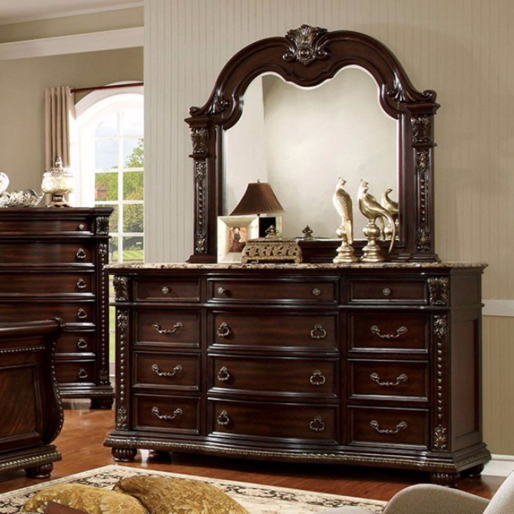 Exceptionally Carved Wooden Dresser In Traditional Style, Brown Cherry