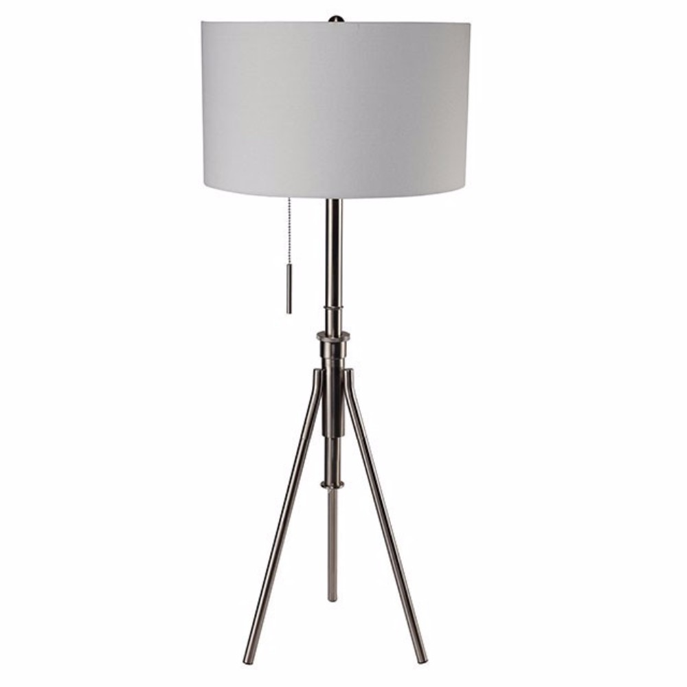 Contemporary Style Floor Lamp, Brushed Steel