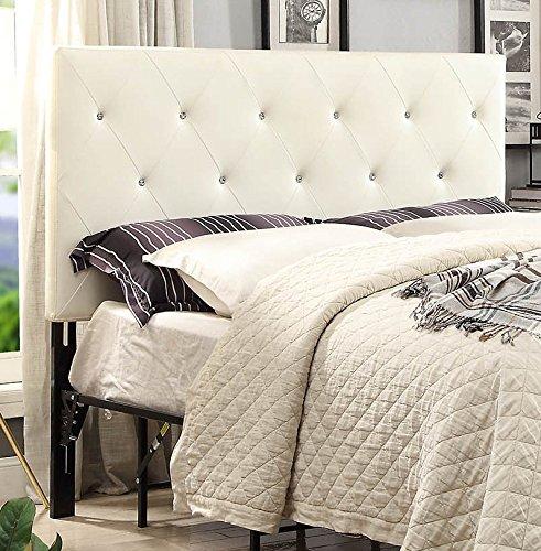 Queen White Contemporary Diamond Tufted Fabric Headboard