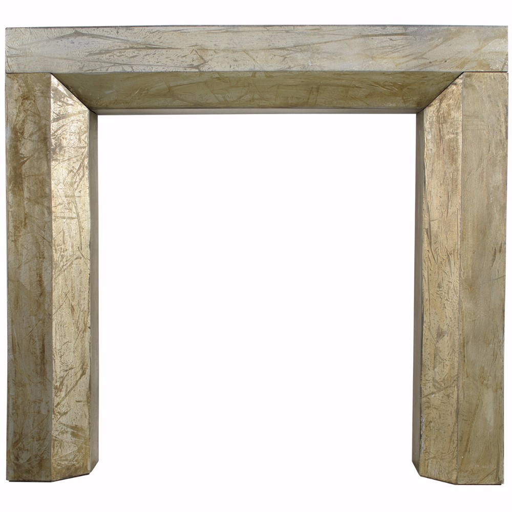 Distressed Solid Wood Fireplace Mantel, Gold