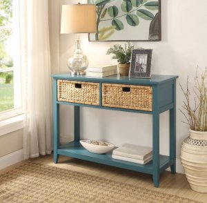 Console Table with 2 Drawers, Blue