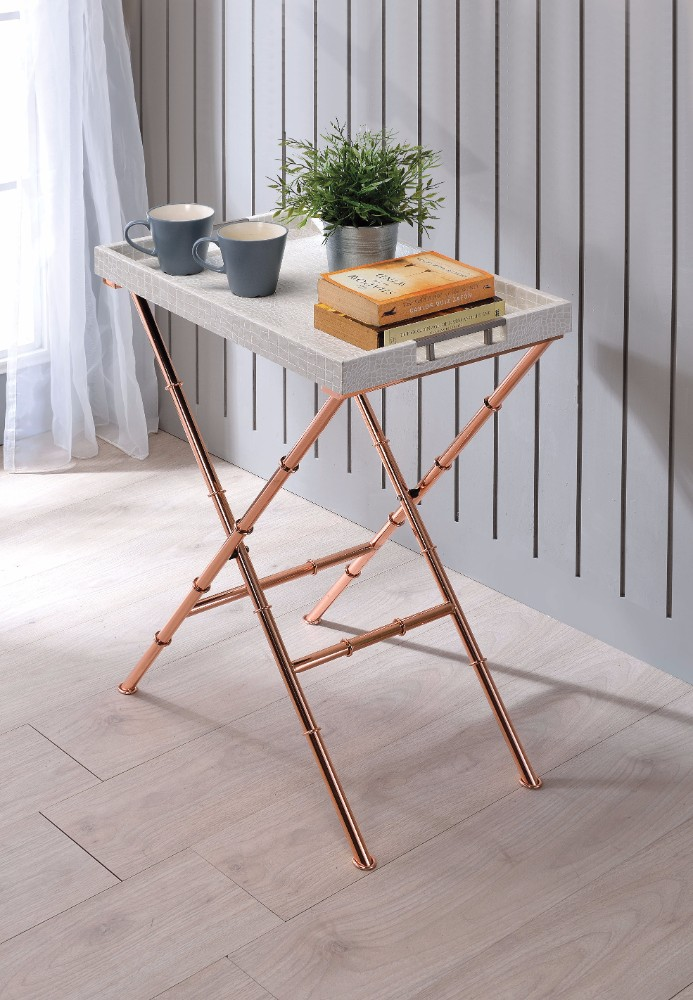 Chic Modish Tray Table, Ivory & Copper