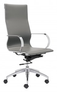 """27.6"""" x 27.6"""" x 42.9"""" Gray, Leatherette, Chromed Steel, High Back Office Chair"""