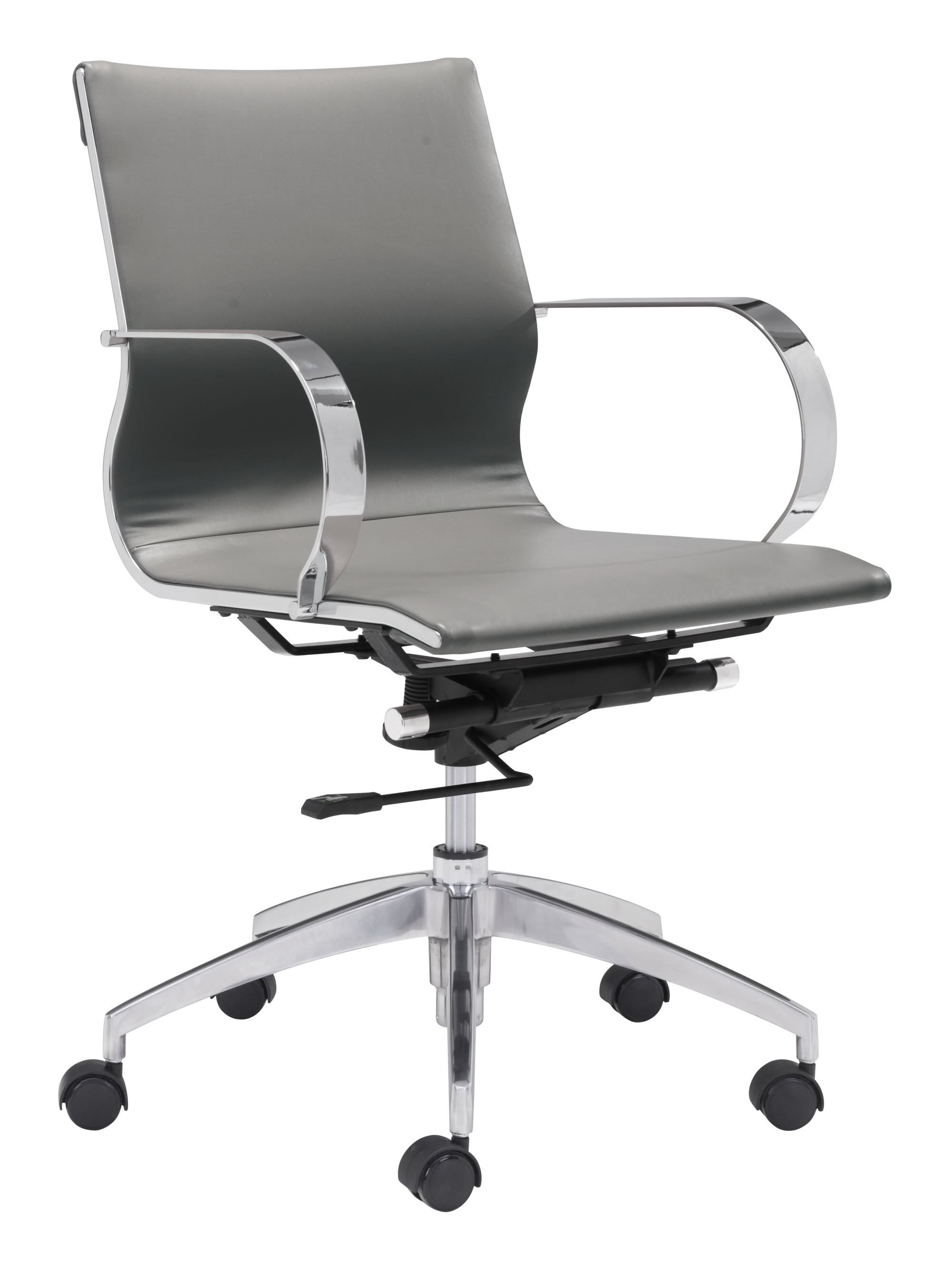 """27.6"""" x 27.6"""" x 33.9"""" Gray, Leatherette, Chromed Steel, Low Back Office Chair"""