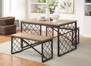 Wood and Metal Dining Set, Light Oak & Gray, 3 Piece Pack