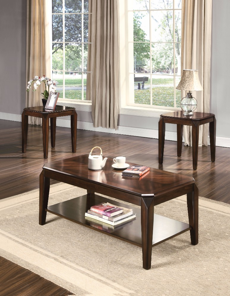 3Pc Pack Coffee/End Table Set, Walnut