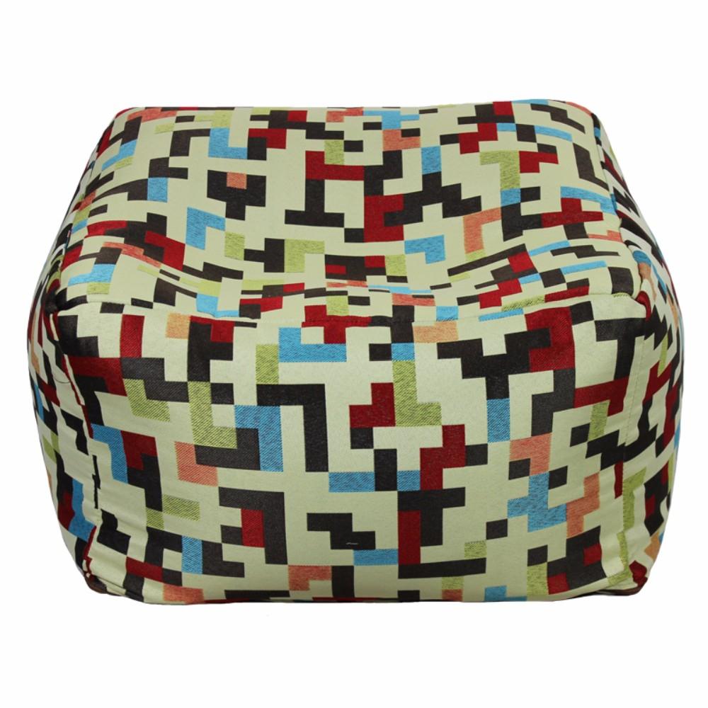 Fabric Pouf Ottoman,Multicolored