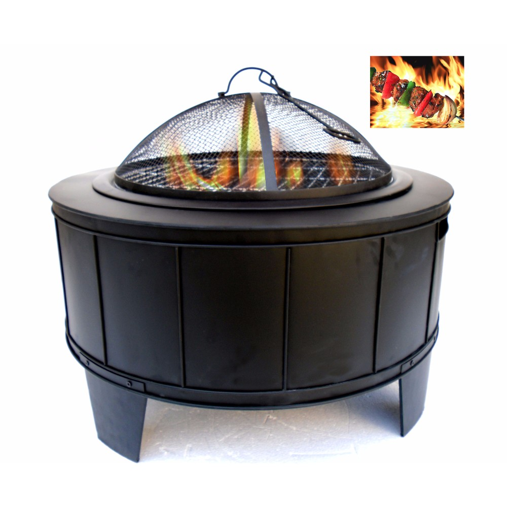Round Metal Fire Pit, Black