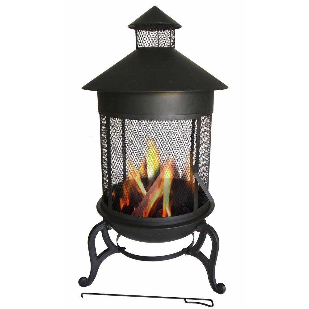 Steaming Round Metal Fire Pit, Black