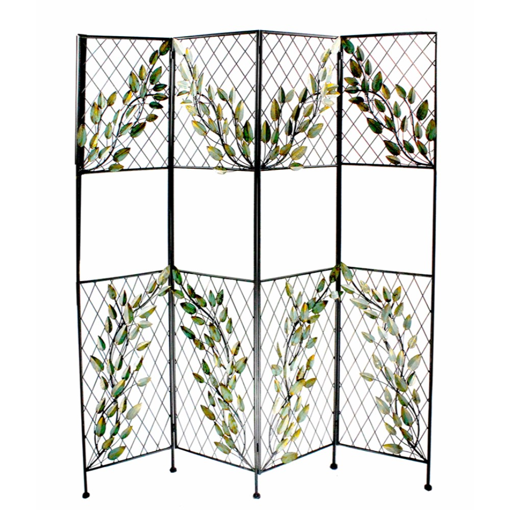 Astonishing Metal Screen With Leaves, Multicolor