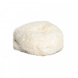"31"" x 31"" x 31"" White Short-Hair Sheepskin Bean Bag"