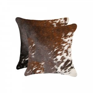 "18"" x 18"" x 5"" Salt And Pepper Brown And White, Cowhide - Pillow 2-Pack"