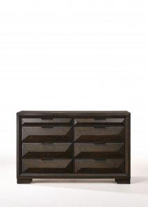 "59"" X 17"" X 37"" Espresso Rubber Wood Dresser"