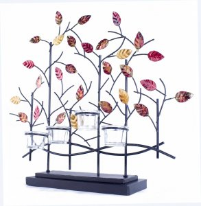 "22.5"" X 5"" X 25.5"" Copper Red And Gold Metal Tree Foiled And Lacquered Votive Holder"