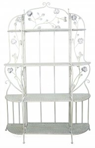 """25"""" X 5"""" X 68"""" Antique White Steel Antique White Bakers Rack with  Shelves"""
