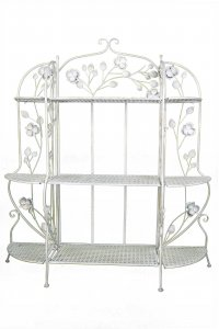 """25"""" X 5"""" X 50"""" Antique White Steel Bakers Rack with  Shelves"""