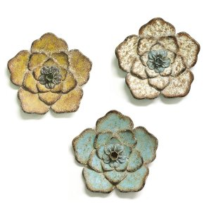 Set of 3 Multi-Color Chic Metal Flowers Wall Art Decor