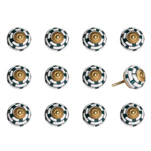 """1.5"""" x 1.5"""" x 1.5"""" White, Teal and Gold - Knobs 12-Pack"""