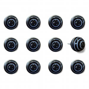 """1.5"""" x 1.5"""" x 1.5"""" Black and Light Blue- Knobs 12-Pack"""