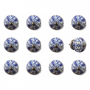 """1.5"""" x 1.5"""" x 1.5"""" White, Blue and Silver- Knobs 12-Pack"""