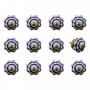 """1.5"""" x 1.5"""" x 1.5"""" White, Blue and Copper - Knobs 12-Pack"""