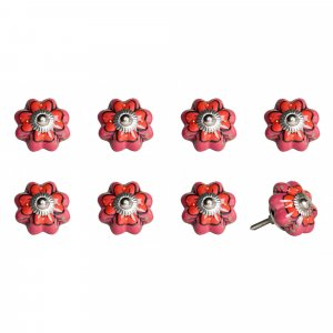 """1.5"""" x 1.5"""" x 1.5"""" Hues Of Pink, Red And Green - Knobs 8-Pack"""